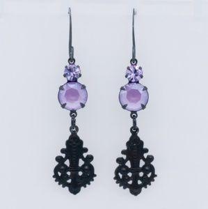 Lilac/Purple Swarovski Crystal Filgree Earrings